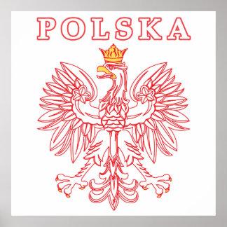 Polska With Red Polish Eagle Poster