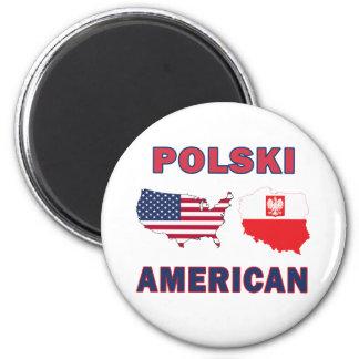 Polski American Map 2 Inch Round Magnet