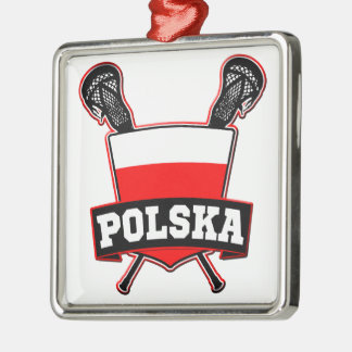 Polski Poland Lacrosse Metal Ornament