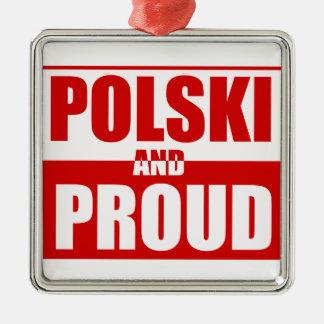 Polski y orgulloso adorno navideño cuadrado de metal