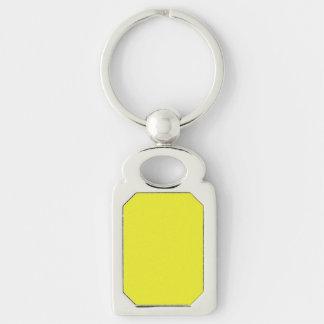 Polvo de estrella amarillo llavero plateado rectangular