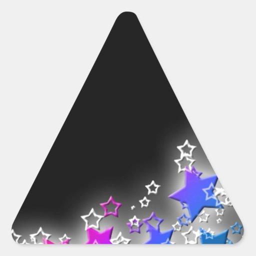 Polvo de estrella rosada y azul pegatina triangular