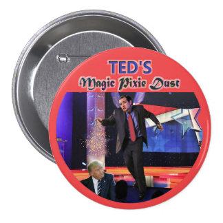 Polvo mágico del duendecillo de Ted Pin Redondo De 3 Pulgadas