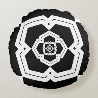 Poly Bloom Black & White Cotton Round Pillow