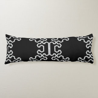 Poly Fracture Black & White Body Pillow by CMYKEY