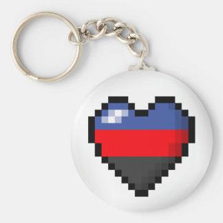 Polyamorous Pixel Heart Keychain