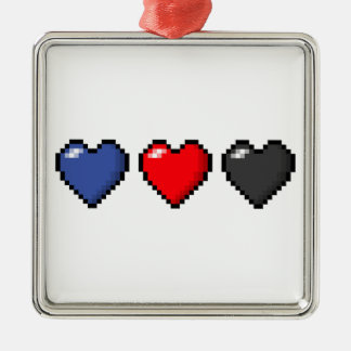 Polyamorous Pixel Hearts Metal Ornament