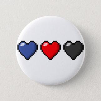 Polyamorous Pixel Hearts Pinback Button