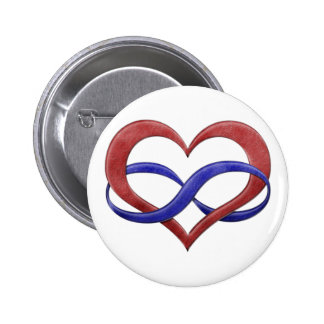 Polyamorous Pride Infinity Heart Button