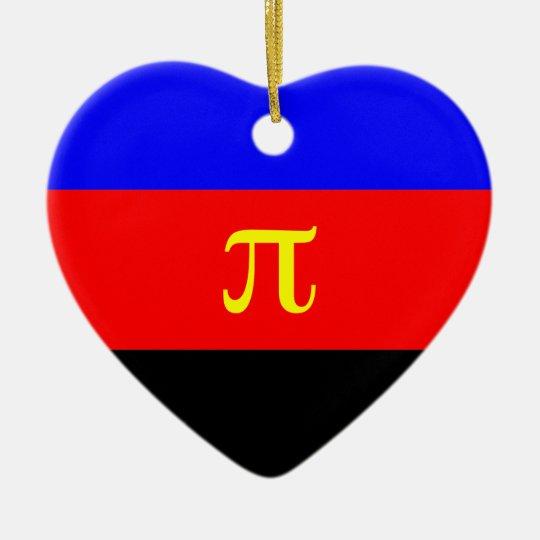 Polyamory Flag -- Pi 3-color Ceramic Ornament