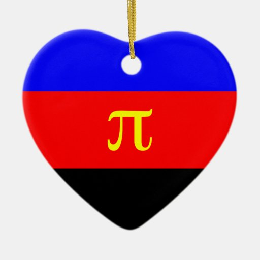 Polyamory Flag -- Pi 3-color Double-Sided Heart Ceramic Christmas Ornament