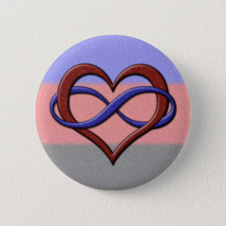 Polyamory Pride Infinity Heart Button