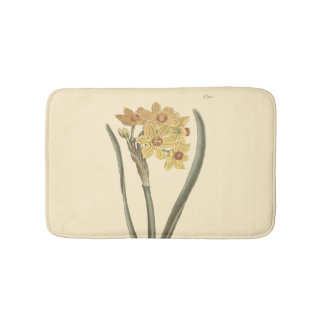 Polyanthus Narcissus Botanical Illustration Bath Mat