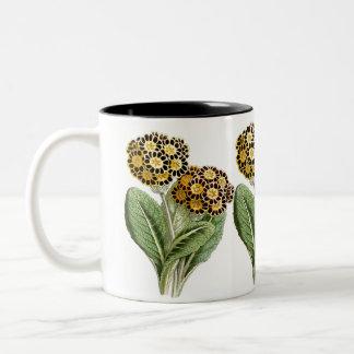 """Polyanthus"" Vintage Flower Illustration Two-Tone Coffee Mug"