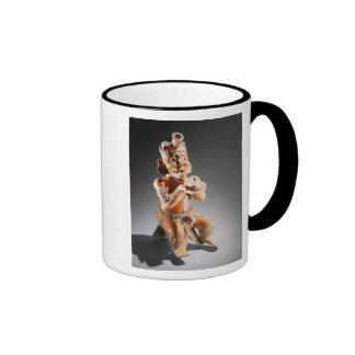 Polychrome two-part effigy vessel, perhaps coffee mug