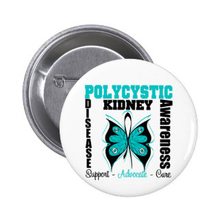 Polycystic Kidney Disease Awareness Butterfly Pinback Button