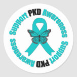 Polycystic Kidney Disease Awareness Butterfly Round Sticker