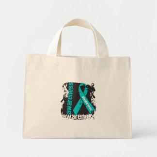 Polycystic Kidney Disease Awareness Grunge Ribbon Bags