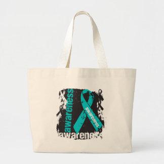 Polycystic Kidney Disease Awareness Grunge Ribbon Bag