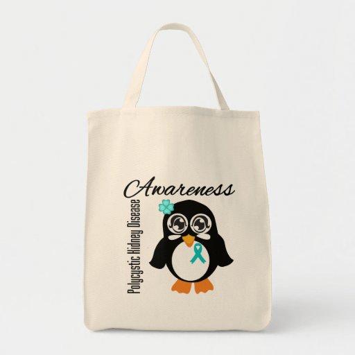 Polycystic Kidney Disease Awareness Penguin Canvas Bag