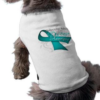 Polycystic Kidney Disease Awareness Ribbon Dog Tee Shirt