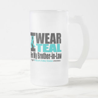 Polycystic Kidney Disease I Wear Teal For My Broth 16 Oz Frosted Glass Beer Mug