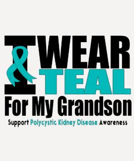 Polycystic Kidney Disease I Wear Teal Grandson Tee Shirt
