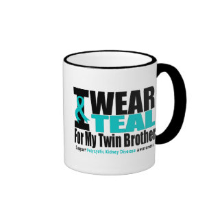 Polycystic Kidney Disease I Wear Teal Twin Brother Ringer Coffee Mug