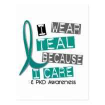 Polycystic Kidney Disease PKD Teal Because I Care Postcard