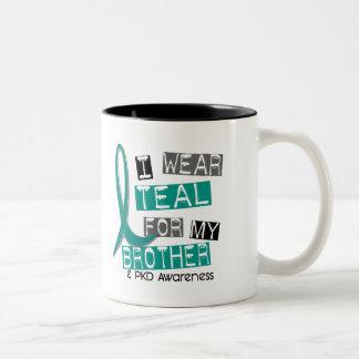 Polycystic Kidney Disease PKD Teal For Brother 37 Two-Tone Coffee Mug