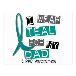 Polycystic Kidney Disease PKD Teal For Dad 37 Postcard