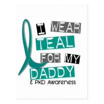 Polycystic Kidney Disease PKD Teal For Daddy 37 Postcard