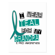 Polycystic Kidney Disease PKD Teal For Grandpa 37 Postcard