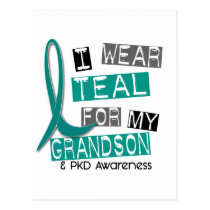 Polycystic Kidney Disease PKD Teal For Grandson 37 Postcard