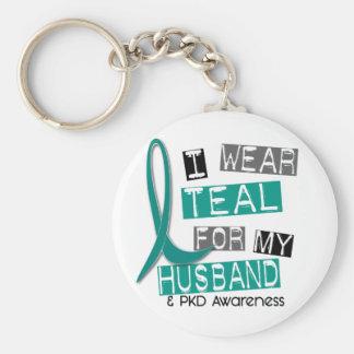 Polycystic Kidney Disease PKD Teal For Husband 37 Keychain