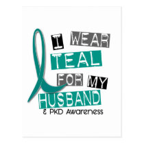Polycystic Kidney Disease PKD Teal For Husband 37 Postcard