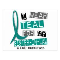 Polycystic Kidney Disease PKD Teal For Sister-In-L Postcard