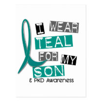 Polycystic Kidney Disease PKD Teal For Son 37 Postcard