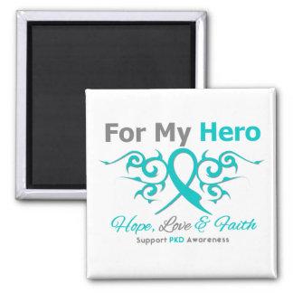Polycystic Kidney Disease (PKD) Tribal Ribbon Hero 2 Inch Square Magnet