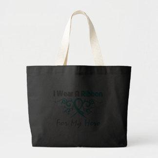 Polycystic Kidney Disease Tribal Deco Ribbon Hero Canvas Bags