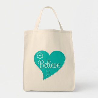Polycystic Ovary Syndrome PCOS Believe Teal Heart Canvas Bags