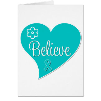 Polycystic Ovary Syndrome PCOS Believe Teal Heart Card