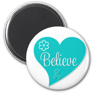 Polycystic Ovary Syndrome PCOS Believe Teal Heart Fridge Magnets