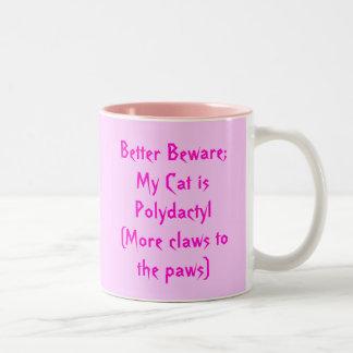 Polydactyl watch cat! Two-Tone coffee mug