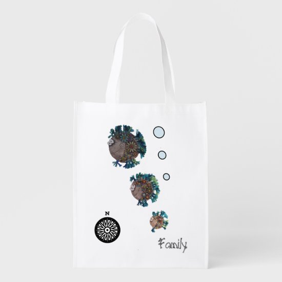 Polyester Bag - Blue and Green Fish Family