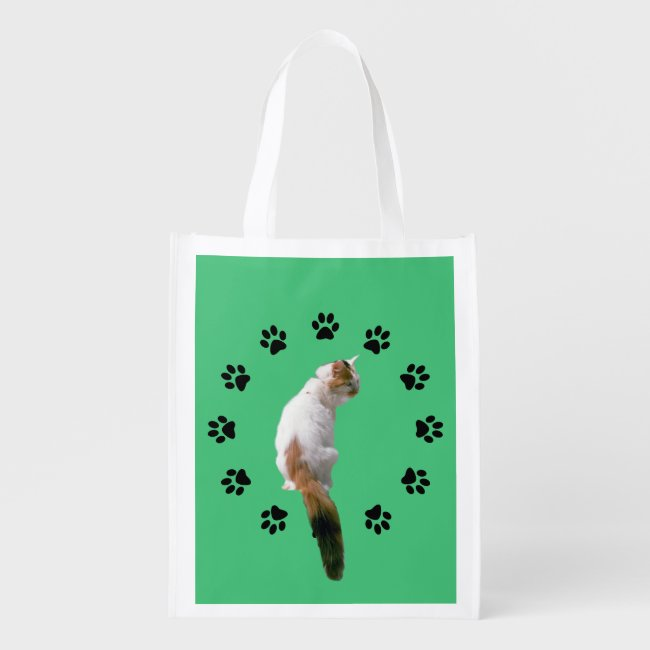 Polyester Bag - Calico Cat within Pawprint Circle
