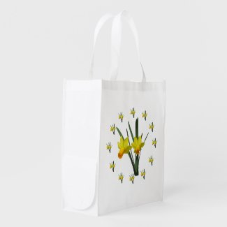 Polyester Bag - Daffodil blossoms Grocery Bags