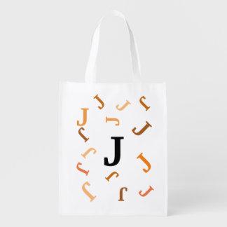 Polyester Bag - Jumbled Letters in Orange Grocery Bag