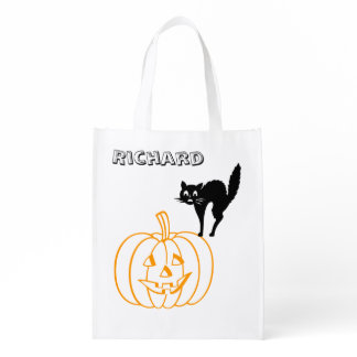 Polyester Bag - Pumpkin and Cat Grocery Bags