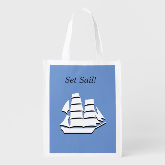 Polyester Bag - White Schooner Graphic
